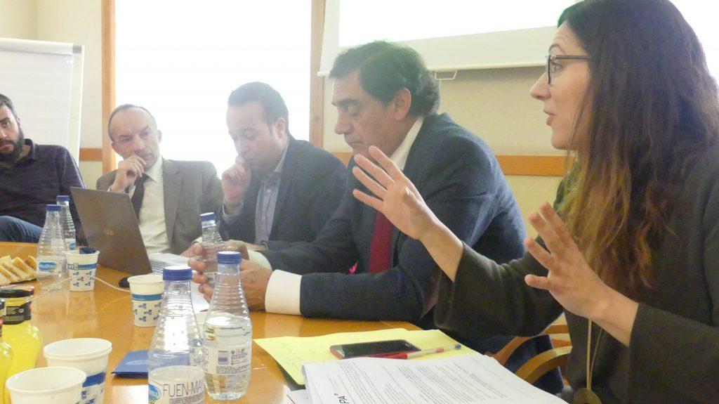 De izquierda a derecha: Ramón Tejedor, director gerente del IAF, Pablo Martín, director de Corresponsables España, Máximo Valenciano, presidente de Inycom, y Ángela Negrete, directora de Operaciones de Arpa EMC.