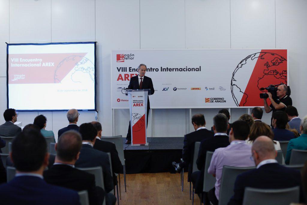 El director general de Industria del Gobierno de Aragón, Jesús Sánchez Farraces, en la apertura del VIII Encuentro Arex.