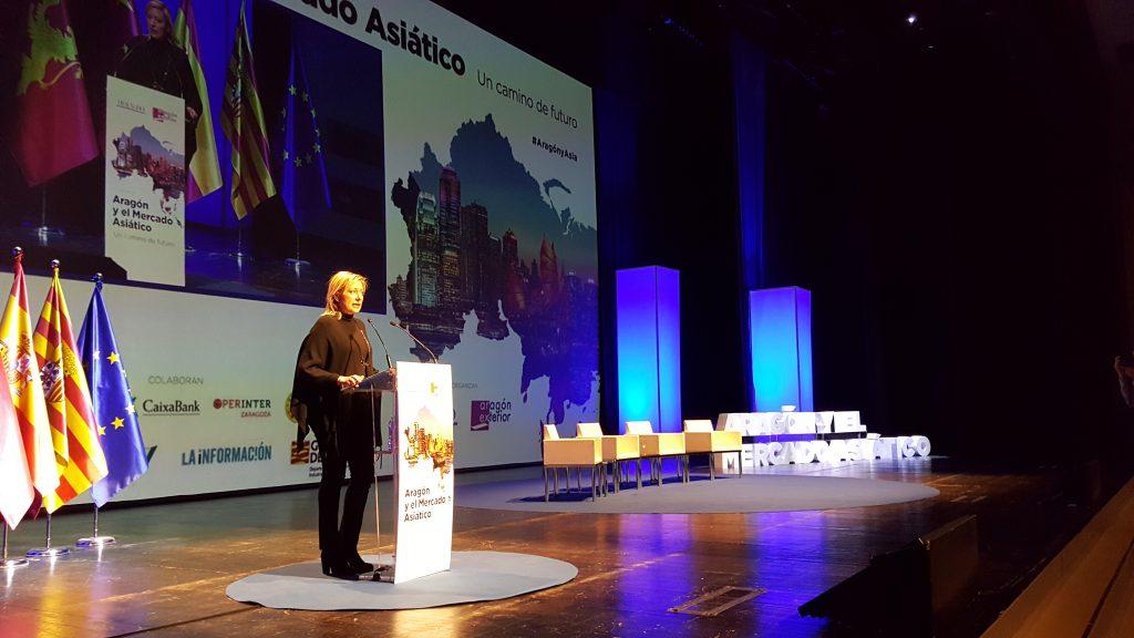 La consejera Marta Gastón, durante la clausura del I Congreso 'Aragón y el mercado asiático'