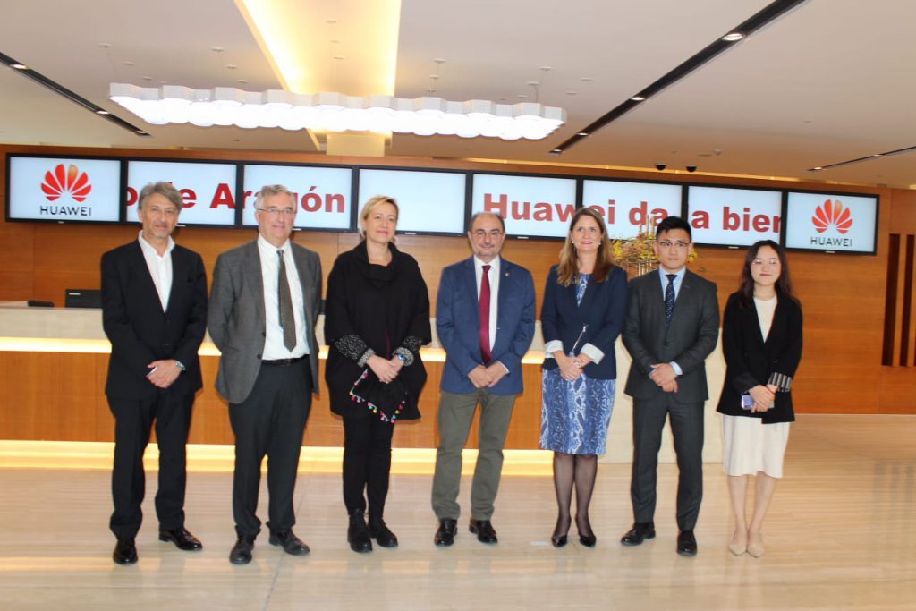 Lambán traslada a Huawei el potencial logístico de Aragón