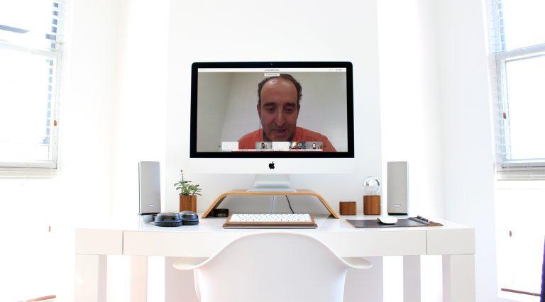 David Cámara, comisario del Plan Contract Aragón y director de UNEX, durante la videoconferencia.