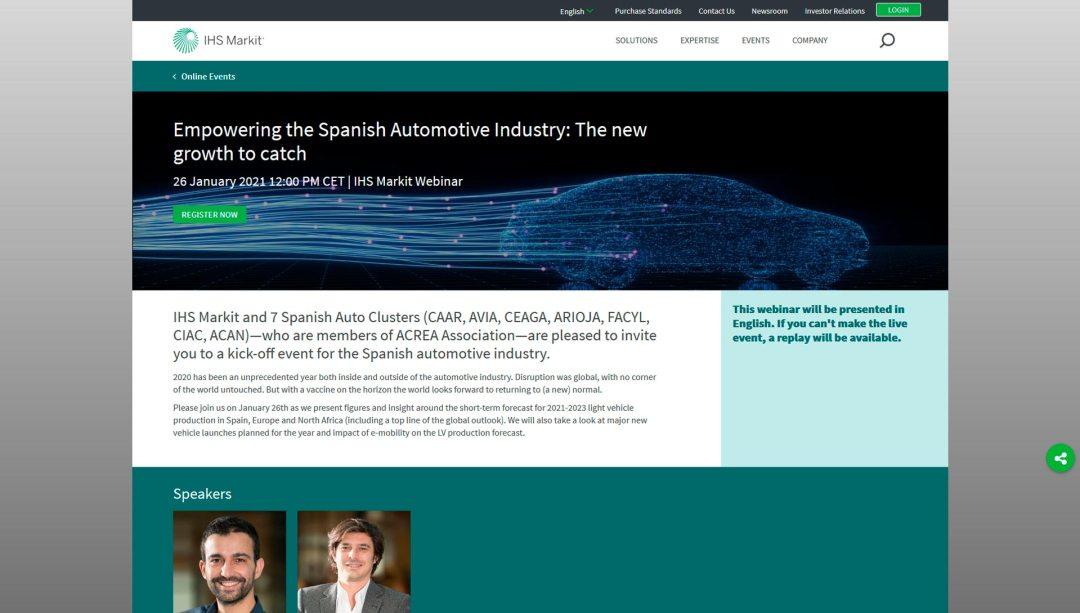 CAAR: Webinar sobre pronósticos a corto plazo para la producción de vehículos ligeros en España, Europa y Norte de África (26 de enero)